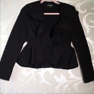 Black nasty gal ruffle blazer size xs